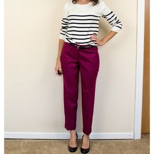 J Crew Burgundy Red Cafe Capri Skinny Ankle Pants